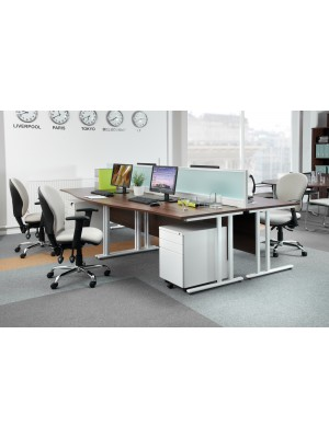 Maestro 25 WL straight desk with 2 drawer pedestal 1800mm - white cantilever frame, white top