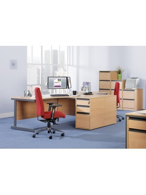 Maestro cantilever leg right hand ergonomic desk 1524mm - beech