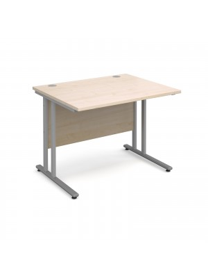 Maestro 25 SL straight desk 1000mm x 800mm - silver cantilever frame, maple top