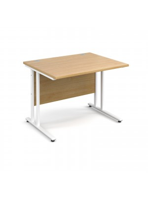 Maestro 25 straight desk 1000mm x 800mm - white cantilever leg frame, oak top