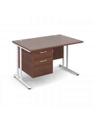 Maestro 25 WL straight desk with 2 drawer pedestal 1200mm - white cantilever frame, walnut top
