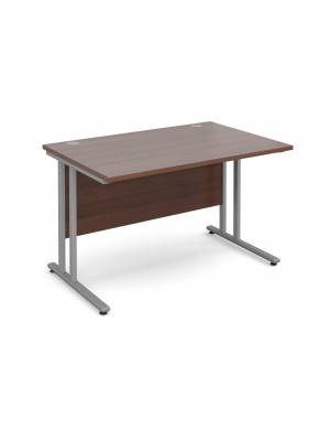 Maestro 25 straight desk 1200mm x 800mm - silver cantilever leg frame, walnut top