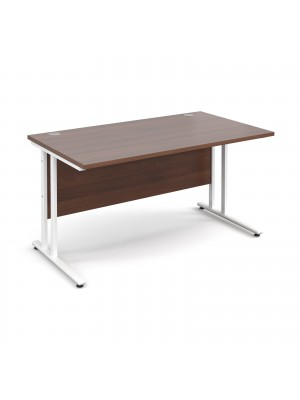 Maestro 25 straight desk 1400mm x 800mm - white cantilever leg frame, walnut top