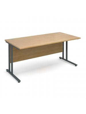 Maestro 25 GL straight desk 1600mm x 800mm - graphite cantilever frame, oak top
