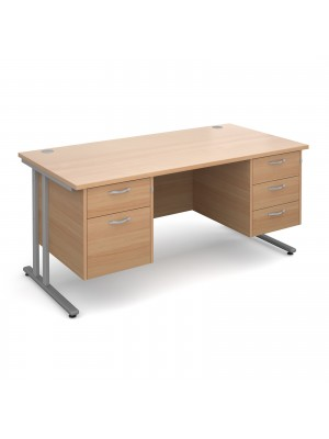 Maestro 25 SL straight desk with 2 and 3 drawer pedestals 1600mm - silver cantilever frame, beech top