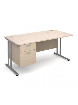 Maestro 25 SL straight desk with 2 drawer pedestal 1600mm - silver cantilever frame, maple top
