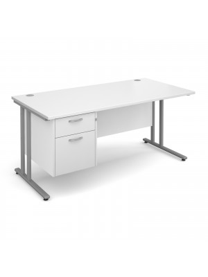 Maestro 25 SL straight desk with 2 drawer pedestal 1600mm - silver cantilever frame, white top