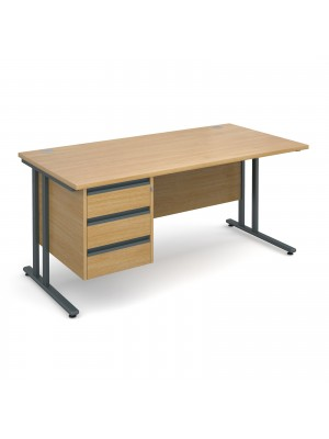 Maestro 25 GL straight desk with 3 drawer pedestal 1600mm - graphite cantilever frame, oak top