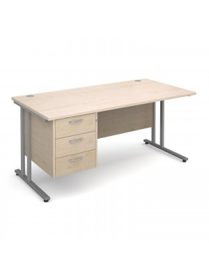 Maestro 25 SL straight desk with 3 drawer pedestal 1600mm - silver cantilever frame, maple top