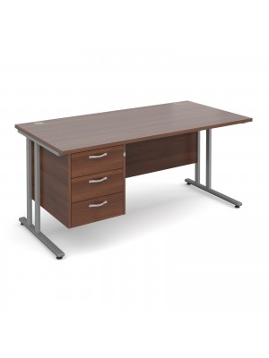 Maestro 25 SL straight desk with 3 drawer pedestal 1600mm - silver cantilever frame, walnut top