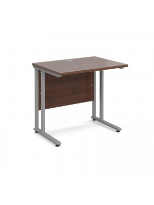 Maestro 25 SL straight desk 800mm x 600mm - silver cantilever frame, walnut top