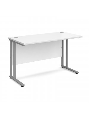 Maestro 25 SL straight desk 1200mm x 600mm - silver cantilever frame, white top