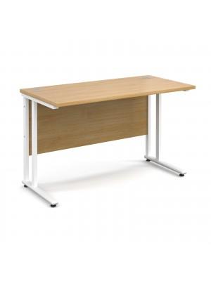 Maestro 25 WL straight desk 1200mm x 600mm - white cantilever frame, oak top