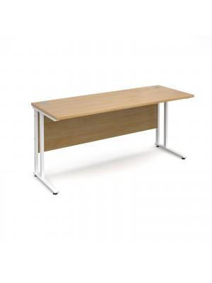 Maestro 25 straight desk 1600mm x 600mm - white cantilever leg frame, oak top