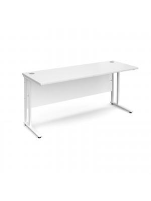 Maestro 25 straight desk 1600mm x 600mm - white cantilever leg frame, white top