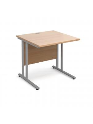 Maestro 25 SL straight desk 800mm x 800mm - silver cantilever frame, beech top
