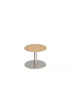 Monza circular coffee table with flat round brushed steel base 600mm - oak