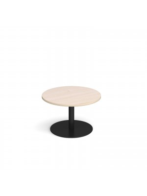 Monza circular coffee table with flat round black base 800mm - maple