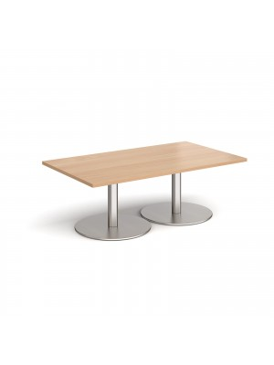 Monza rectangular coffee table with flat round brushed steel bases 1400mm x 800mm - beech