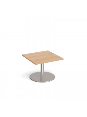 Monza square coffee table with flat round brushed steel base 700mm - beech