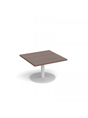 Monza square coffee table with flat round white base 800mm - walnut