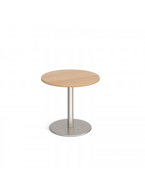 Monza circular dining table with flat round brushed steel base 800mm - beech