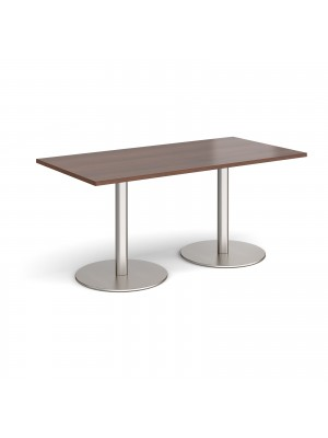 Monza rectangular dining table with flat round brushed steel bases 1600mm x 800mm - walnut