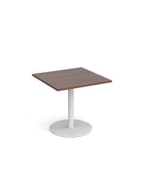 Monza square dining table with flat round white base 800mm - walnut