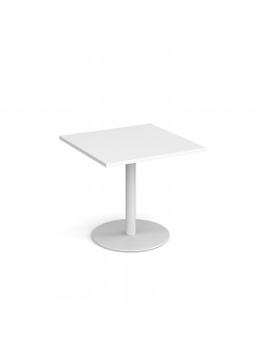 Monza square dining table with flat round white base 800mm - white