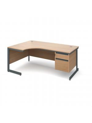 Maestro cantilever leg left hand ergonomic desk with 2 drawer pedestal 1778mm - beech
