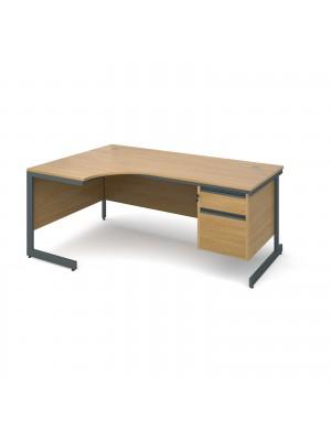 Maestro cantilever leg left hand ergonomic desk with 2 drawer pedestal 1778mm - oak