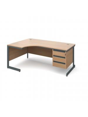 Maestro cantilever leg left hand ergonomic desk with 3 drawer pedestal 1778mm - beech