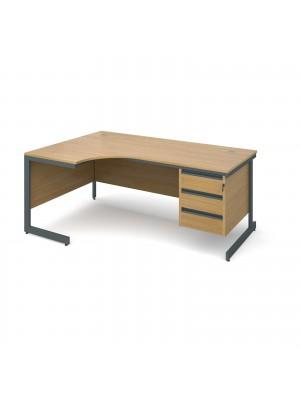 Maestro cantilever leg left hand ergonomic desk with 3 drawer pedestal 1778mm - oak