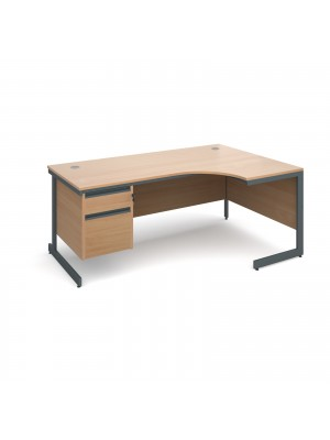 Maestro cantilever leg right hand ergonomic desk with 2 drawer pedestal 1778mm - beech