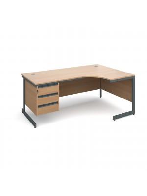 Maestro cantilever leg right hand ergonomic desk with 3 drawer pedestal 1778mm - beech