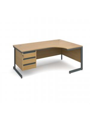 Maestro cantilever leg right hand ergonomic desk with 3 drawer pedestal 1778mm - oak