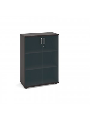 Magnum low cupboard with glass doors 1130mm high - dark oak