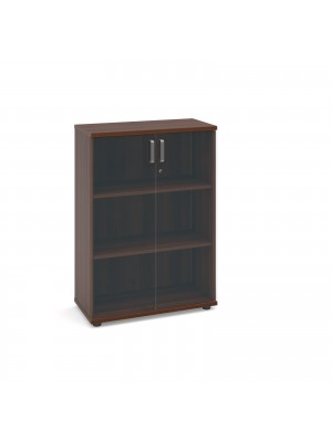 Magnum low cupboard with glass doors 1130mm high - american walnut