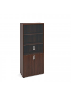 Magnum combination unit with glass upper doors 1840mm high - american walnut