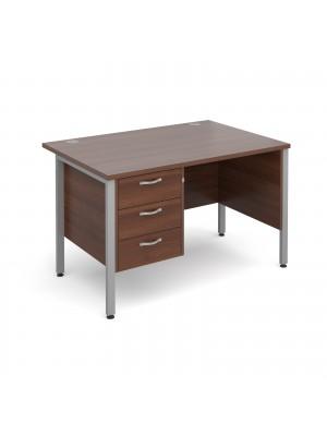 Maestro 25 SL straight desk with 3 drawer pedestal 1200mm - silver H-Frame, walnut top