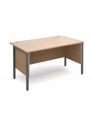 Maestro 25 GL straight desk with side modesty panels 1400mm x 800mm - graphite H-Frame, beech top
