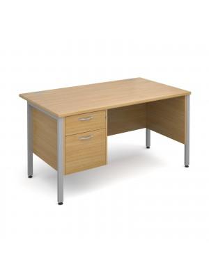 Maestro 25 straight desk 1400mm x 800mm with 2 drawer pedestal - silver H-frame leg, oak top