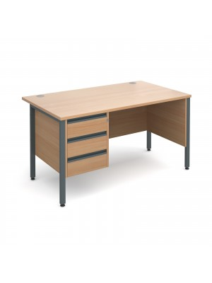 Maestro 25 GL straight desk with 3 drawer pedestal 1400mm - graphite H-Frame, beech top