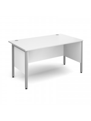 Maestro 25 SL straight desk with side modesty panels 1400mm x 800mm - silver H-Frame, white top