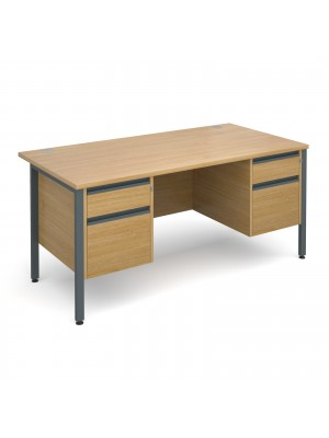 Maestro 25 GL straight desk with 2 and 2 drawer pedestals 1600mm - graphite H-Frame, oak top