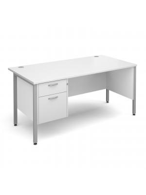Maestro 25 straight desk 1600mm x 800mm with 2 drawer pedestal - silver H-frame leg, white top
