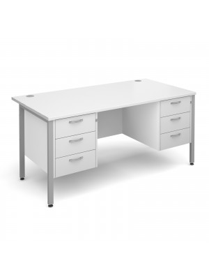 Maestro 25 straight desk 1600mm x 800mm with two x 3 drawer pedestals - silver H-frame leg, white top
