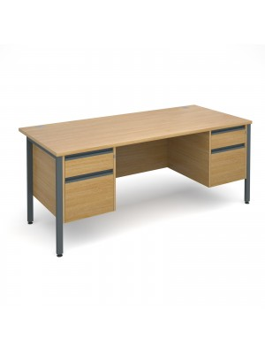 Maestro 25 GL straight desk with 2 and 2 drawer pedestals 1800mm - graphite H-Frame, oak top