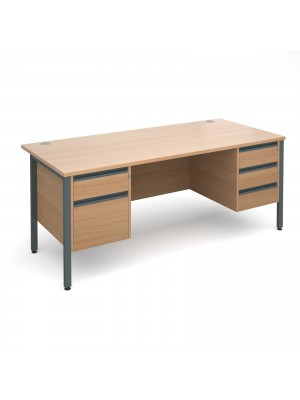 Maestro 25 GL straight desk with 2 and 3 drawer pedestals 1800mm - graphite H-Frame, beech top