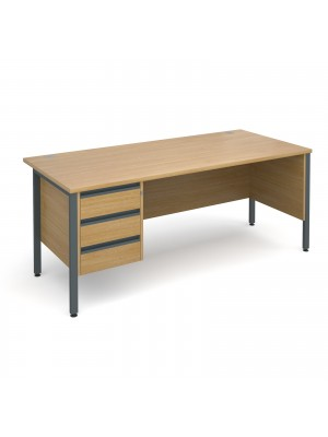 Maestro 25 GL straight desk with 3 drawer pedestal 1800mm - graphite H-Frame, oak top